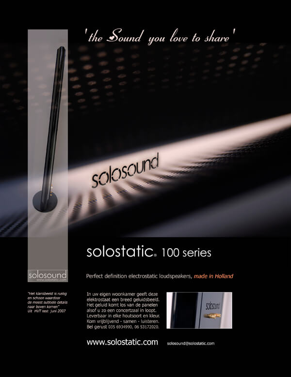 Advertentie Solosound Solostatic 'The sound you love to share'