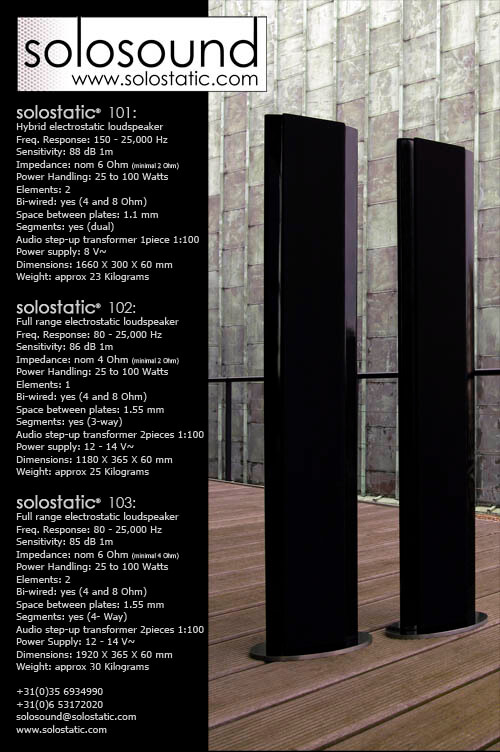 Solostatic Classic 100 series electrostatic loudspeakers