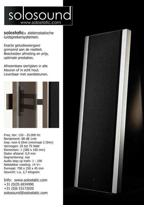 Solosound 100 elektrostatische luidsprekers met wandsteunen